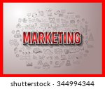 marketing concept with doodle...   Shutterstock .eps vector #344994344