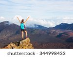 young happy woman hiker with...   Shutterstock . vector #344998433