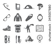set of black vector icons on... | Shutterstock .eps vector #345007880