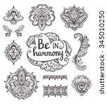 set of ornamental boho style... | Shutterstock .eps vector #345010250