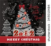 vector vintage christmas card...   Shutterstock .eps vector #345010484