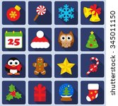 christmas icons set | Shutterstock .eps vector #345011150