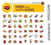 big set of food icons and... | Shutterstock .eps vector #345012698
