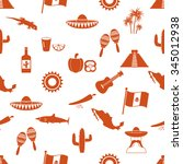 mexico country theme symbols... | Shutterstock .eps vector #345012938