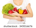 young woman with healthy... | Shutterstock . vector #345016676