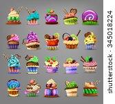 set of cupcake. vector... | Shutterstock .eps vector #345018224
