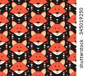 cute fox seamless pattern.... | Shutterstock .eps vector #345019250