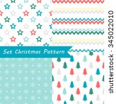 set of seamless christmas... | Shutterstock .eps vector #345022010