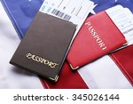 passports  tickets lying on... | Shutterstock . vector #345026144