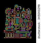 neon colors on a black... | Shutterstock .eps vector #345043298