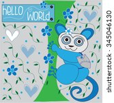 cute blue koala with hearts and ... | Shutterstock .eps vector #345046130