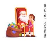 santa claus holding little... | Shutterstock .eps vector #345049010