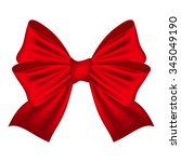 red bow on a white background  | Shutterstock .eps vector #345049190