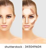 contouring.make up woman face.... | Shutterstock . vector #345049604