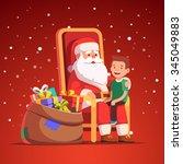 santa claus holding little... | Shutterstock .eps vector #345049883