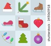 christmas icons set. vector... | Shutterstock .eps vector #345065918