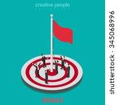 goal achievement flag rising...   Shutterstock .eps vector #345068996