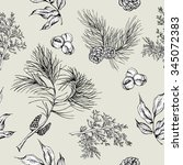 monochrome forest vintage... | Shutterstock .eps vector #345072383