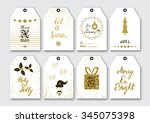 christmas  new year gift tags... | Shutterstock .eps vector #345075398