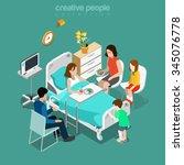 hospital ward patient bed... | Shutterstock .eps vector #345076778