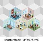 office interior cells flat 3d... | Shutterstock .eps vector #345076796