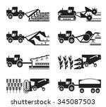 crop growing and harvesting of... | Shutterstock .eps vector #345087503