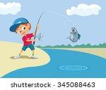boy fishing in a river. vector... | Shutterstock .eps vector #345088463