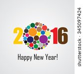 colorful happy new year 2016... | Shutterstock .eps vector #345097424