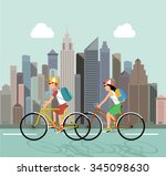cycle tourism. people against... | Shutterstock . vector #345098630