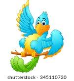 cute blue bird cartoon waving | Shutterstock . vector #345110720