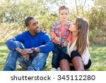 multi cultural family together... | Shutterstock . vector #345112280