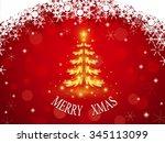 golden christmas tree on red...   Shutterstock . vector #345113099