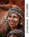 Small photo of SYDNEY,AUSTRALIA - NOVEMBER 22,2015: An indigenous dancer waits her turn in a competition during the Homeground festival - a major annual celebration of aboriginal culture.