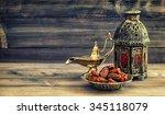 ramadan lamp and dates on...   Shutterstock . vector #345118079
