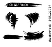 vector set of grunge brush... | Shutterstock .eps vector #345121739