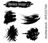 vector set of grunge brush... | Shutterstock .eps vector #345121760
