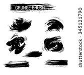 vector set of grunge brush... | Shutterstock .eps vector #345121790