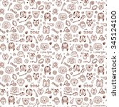 dogs vector seamless pattern.... | Shutterstock .eps vector #345124100
