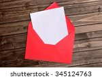 red envelope with empty paper... | Shutterstock . vector #345124763