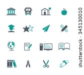education icon set | Shutterstock .eps vector #345130010