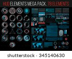 HUD Elements Mega Pack. 78 Elements. Sci Fi Futuristic User Interface. Menu Button. Vector Illustration. | Shutterstock vector #345140630