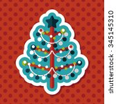 christmas tree flat icon with...