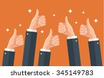 many thumbs up. social network...   Shutterstock .eps vector #345149783