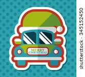 christmas car flat icon with... | Shutterstock .eps vector #345152450