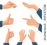 set of human pointing hands.... | Shutterstock .eps vector #345157238
