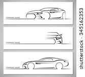 modern sports car silhouettes.... | Shutterstock .eps vector #345162353