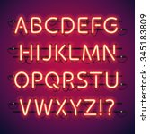 Glowing Neon Bar Alphabet. Use...