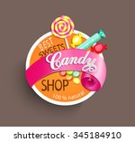 paper candy shop label with... | Shutterstock .eps vector #345184910