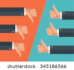 thumbs up and thumbs down.... | Shutterstock .eps vector #345186566