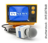 tv news or reportage concept.... | Shutterstock . vector #345187868